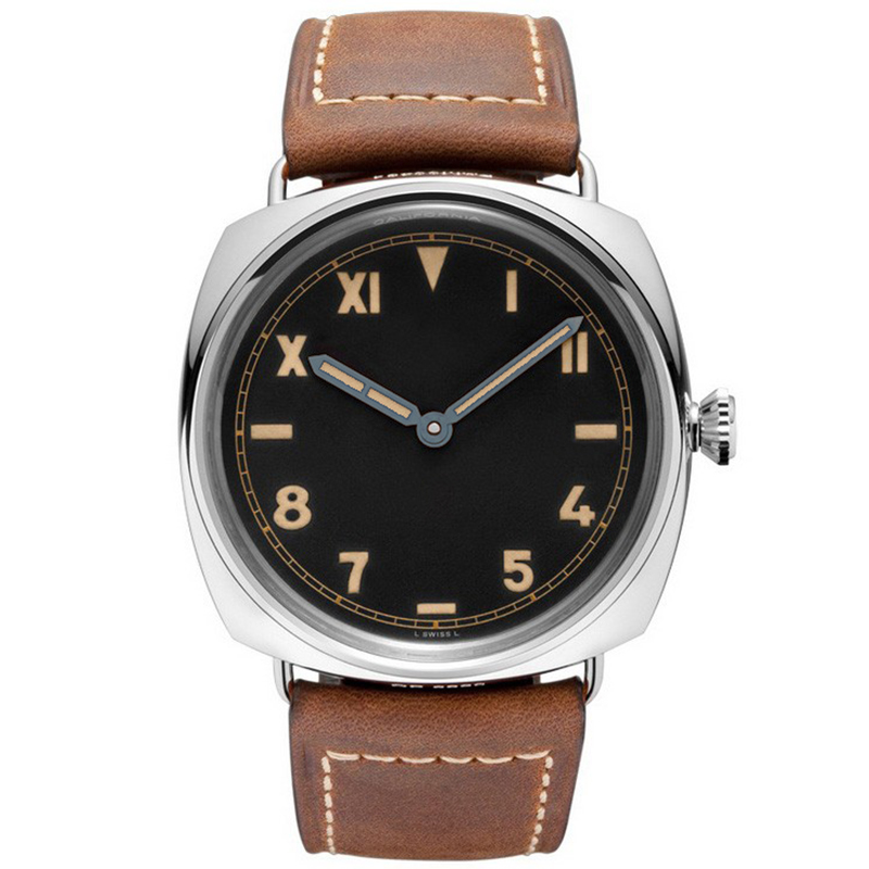 Hruodland Men's New Fashion Quartz Watches PAM00424 Vintage Stainless Steel Wrist Watch For Male Women With Brown Leather Stap