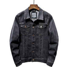 202 autumn classic men's retro black denim jacket fashion casual cotton denim jacket