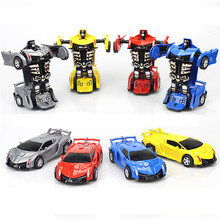 цена на 2 IN 1 Deformation Robot Car Model One-key Automatic Transformation Action Figure Classic Toy Learning Boys Children Toys Gifts