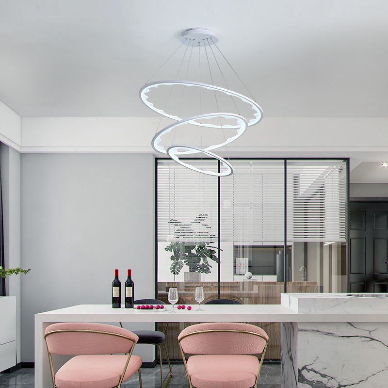 LED Pendant Lights Chandelier Modern Hanging Ceiling Lamp Living Room Dining Room Circle Rings Acrylic Aluminum Body LED