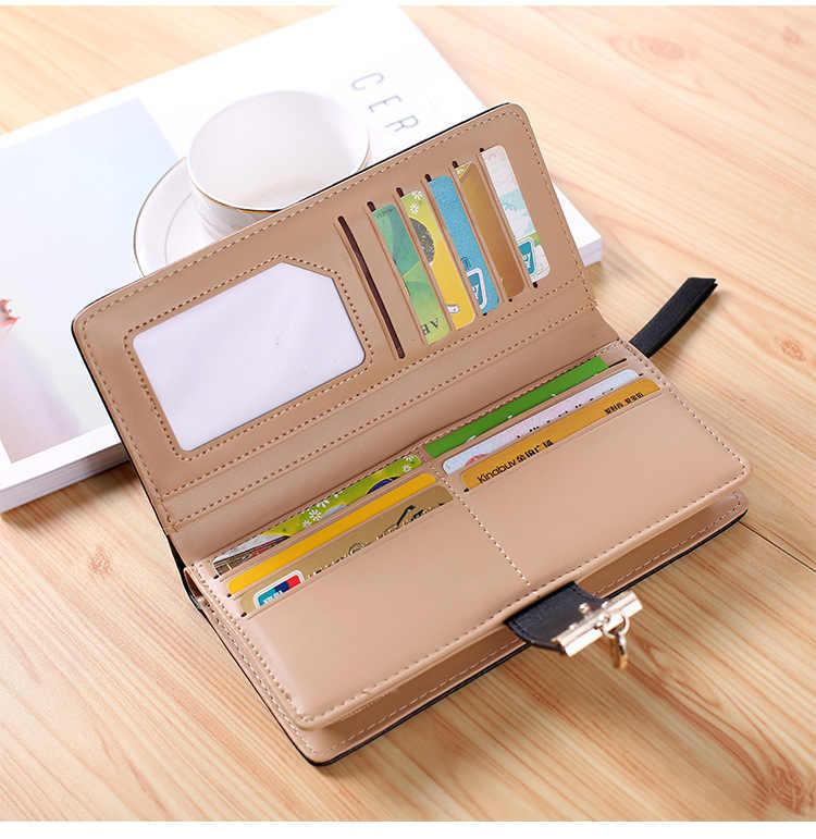 Kobiety portfel PU skóra torebka długi portfel damski złoty Hollow liście pokrowiec torebka dla kobiet portmonetka posiadaczy kart Clutc