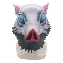 Iblis avcısı Kimetsu hiçbir Yaiba Cosplay Hashibira Inosuke maskesi lateks yetişkin cadılar bayramı maskeleri kostüm Prop