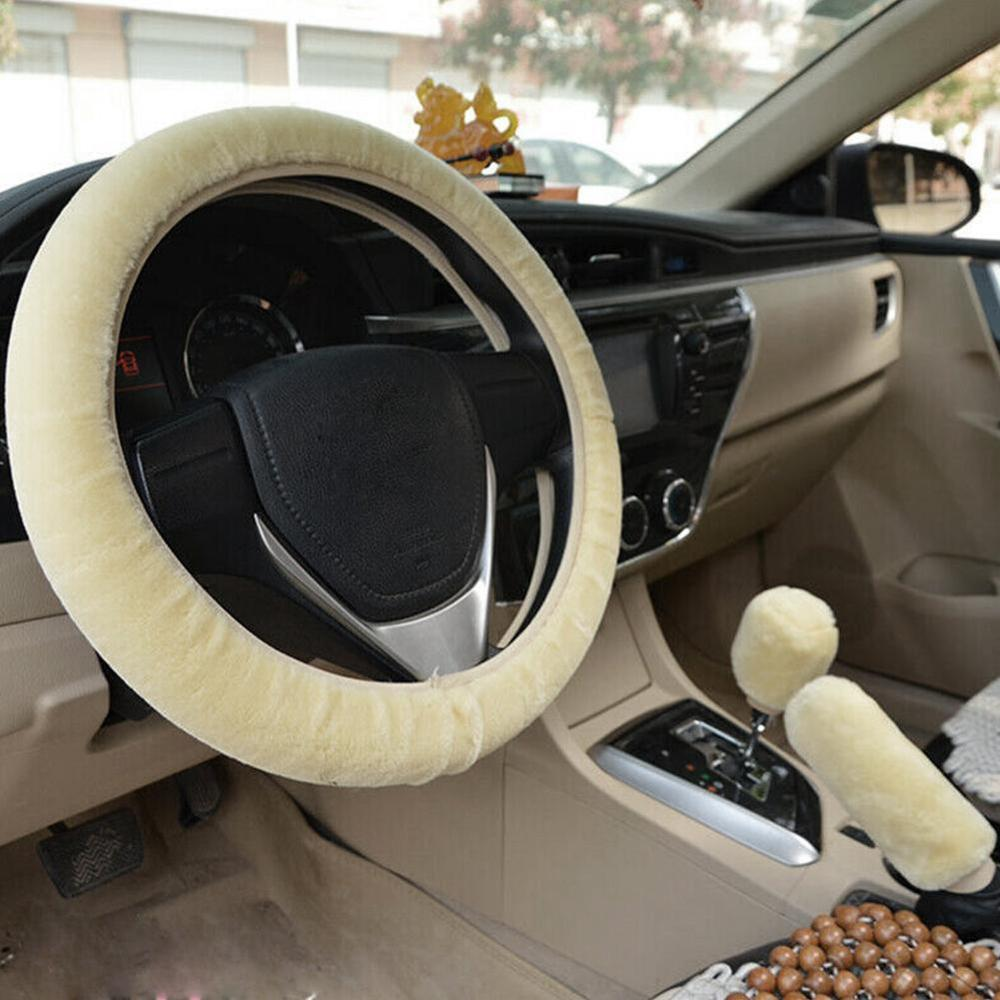 37-38cm/15inch Universal Car Steering Wheel Covers Plush Beige Winter Diy Steering Wheel Covers leather Car Interior Accessorie
