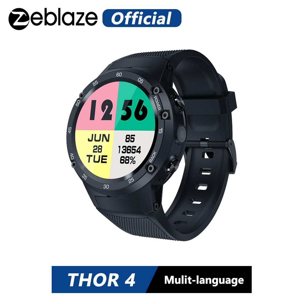 Zeblaze thor 4 flagship 4g lte gps smartwatch android 7.0 mtk6737 quad core 1 gb + 16 5.0mp 580 mah 4g/3g/2g relógio de chamada de dados