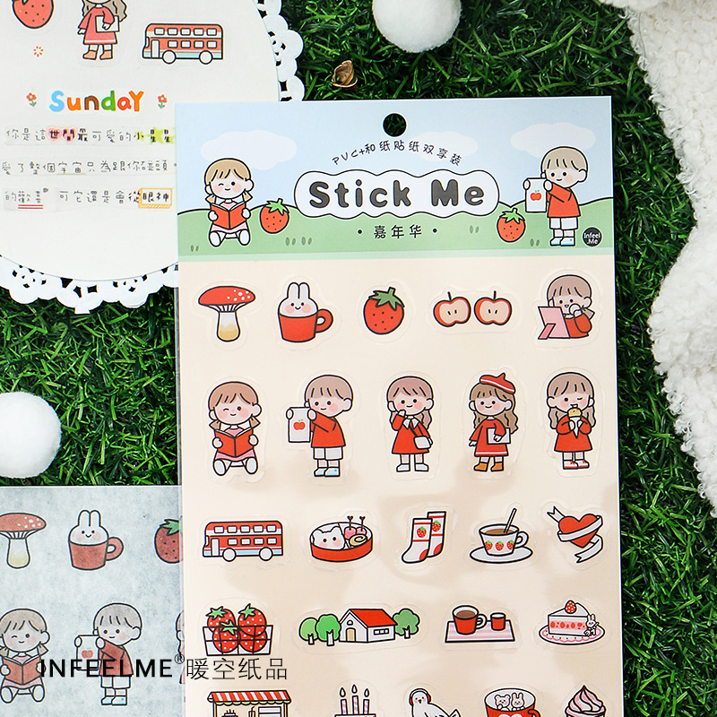 Mohamm 2sheets  PVC Cartoon Scrapbooking Stickers Aesthetic Paper Sticker Flakes Stationary Office Accessories Art Supplies