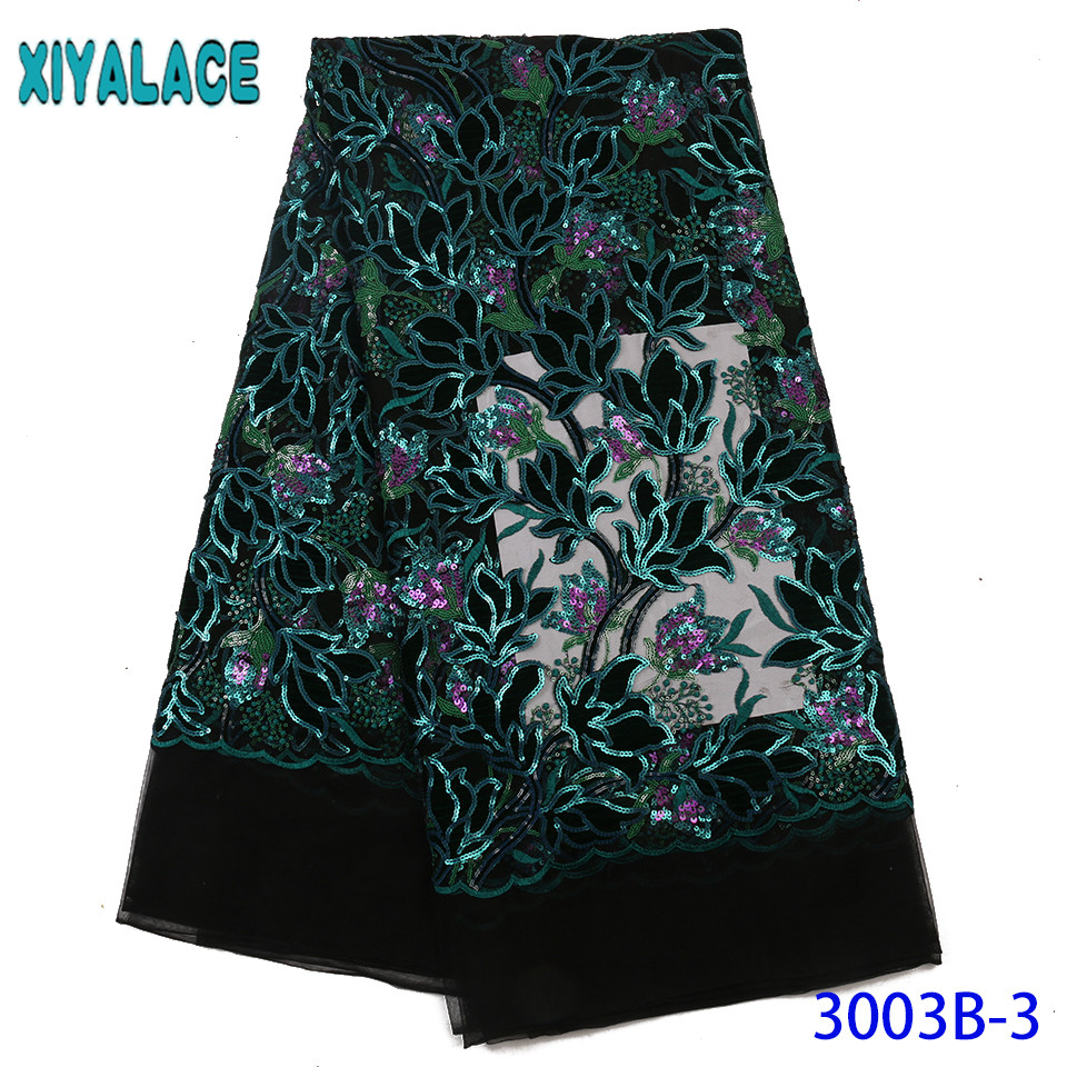 Hot Sale Velvet Lace Fabric 2019 Nigeria Lace New French Net Tulle Lace With Sequins Flower Pattern KS3003B