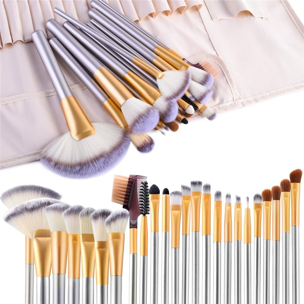 FLD Champagne Makeup Brushes Set Foundation Blending Blush Concealer Eye Shadow Cosmetic Kit with Bag Choose Brochas Maquillaje