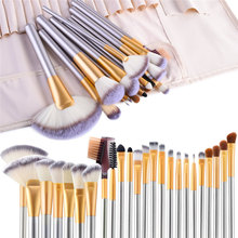 FLD Champagne Makeup Brushes Set Foundation Blending Blush Concealer Eye Shadow Cosmetic Kit with Bag Choose Brochas Maquillaje