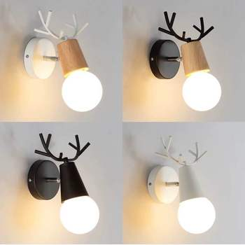 LED wall lamp creative wall pendant lamp 5W modern Nordic wrought iron + wooden bedroom bedside lamp children's room living room modern chinese style wood wall lamp wooden acrylic tree shape living room led bedroom bedside wall sconces