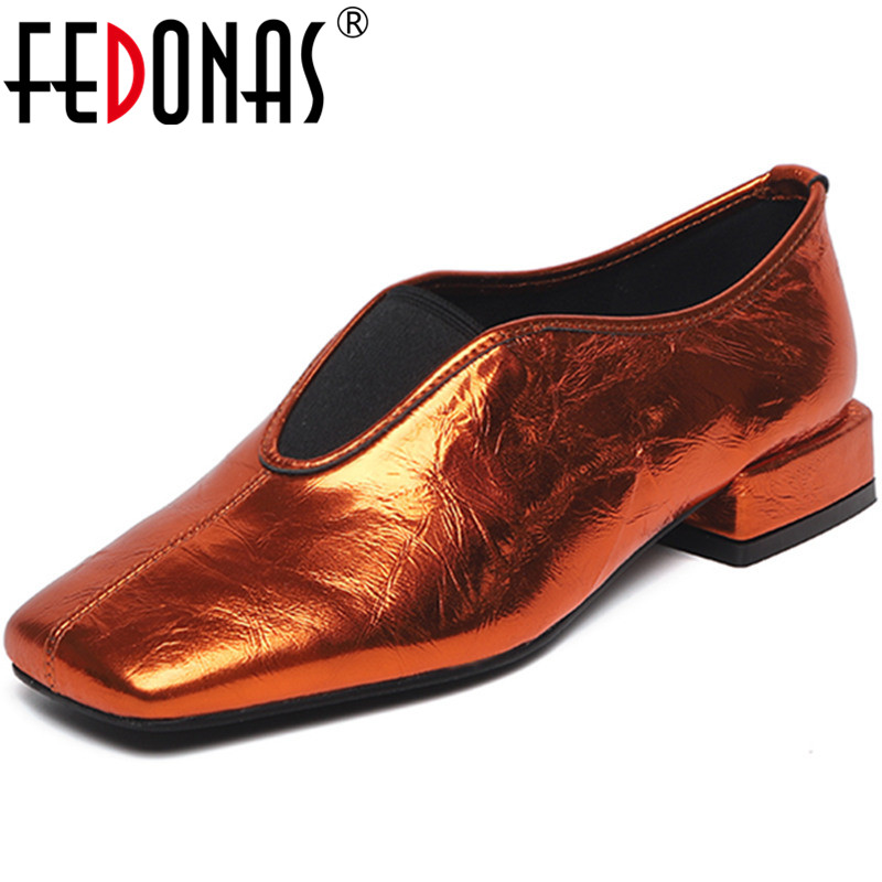FEDONAS  Women Pumps Cow Leather Casual Shoes Working Shoes Square Toe Concise Slip On High Quality Spring Summer Shoes Woman