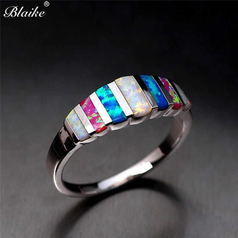 Blaike 925 Sterling Silver Filled Rings For Women Colorful Fire Opal Ring Wedding Party Ring Jewelry Anniversary Gifts