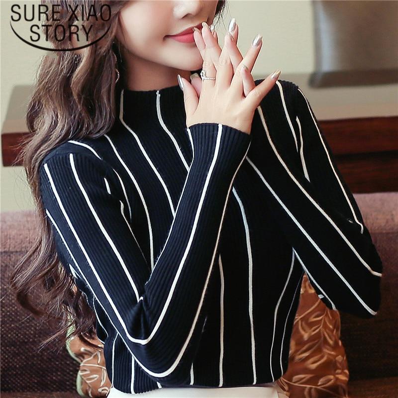 2019 Causal Autumn Striped Women Sweater Bottom Shirt Women's Clothing Pullover Turtleneck Female Winter Sweaters 1326 45