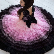 Dress Flower-Girl Birthday-Party Costumes Ball-Gown Wedding Kids Lace with Bow Top