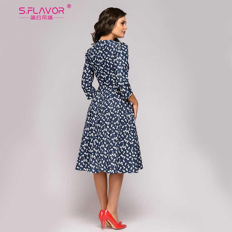 S. Smaak Franse Stijl Vintage Jurk Voor Vrouwen Elegante Bloemen Gedrukt Slim Lente A-lijn Vestidos Klassieke Vrouwen Zomer Jurken