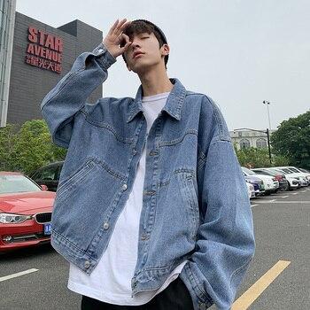 Autumn Denim Jacket Men Fashion Washed Solid Color Casual Large Pocket Denim Jacket Man Streetwear Hip Hop Loose Bomber Jacket