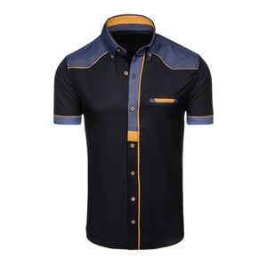 Image 2 - Zogaa 2019 verão camisa masculina casual retalhos lapela camisa masculina manga curta botão fino ajuste blusa respirável vestido de escritório camisas