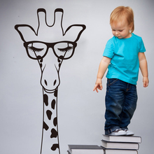 Cartoon Giraffe Head With Glass Eyelash Wall Sticker Kids Room Nursery Large Africa Animal Decal Bedroom Sofa 3336