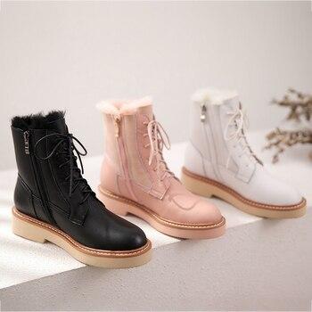 Botas rusas de Invierno para mujer, botines de piel con forro de lana, cálidos, con cremallera lateral, 3 colores, 30 grados