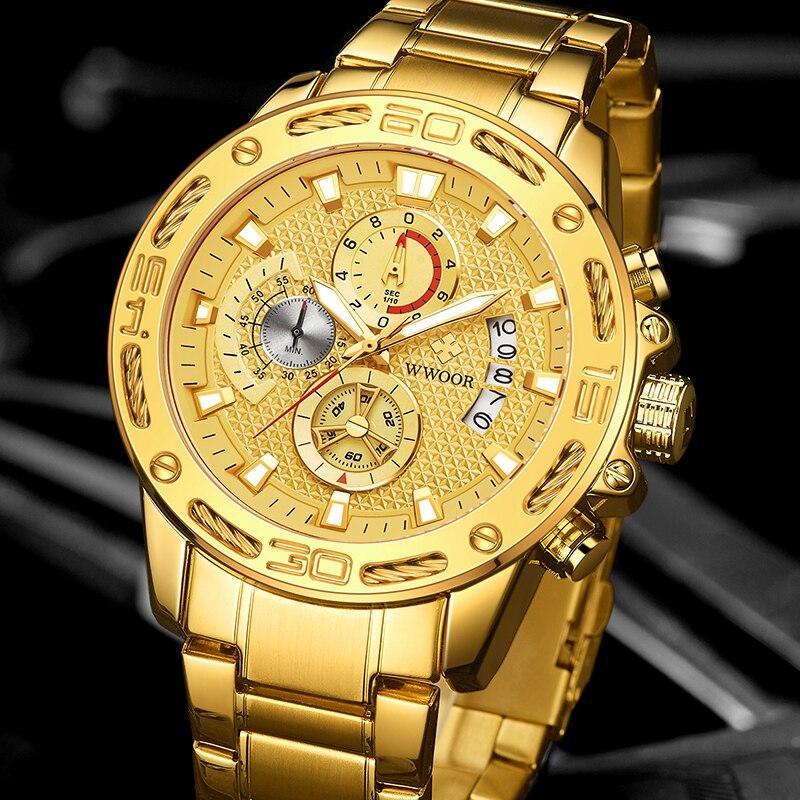 WWOOR 2020 New Men Watches Top Brand Luxury Gold Stainless Steel Quartz Watch Men Waterproof Sport Chronograph Relogio Masculino