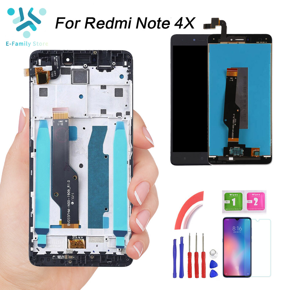 E-family 5.5'' For Xiaomi Redmi Note 4X LCD Display Touch Screen For Redmi Note 4 Global Snapdragon 625 Replacement With Frame