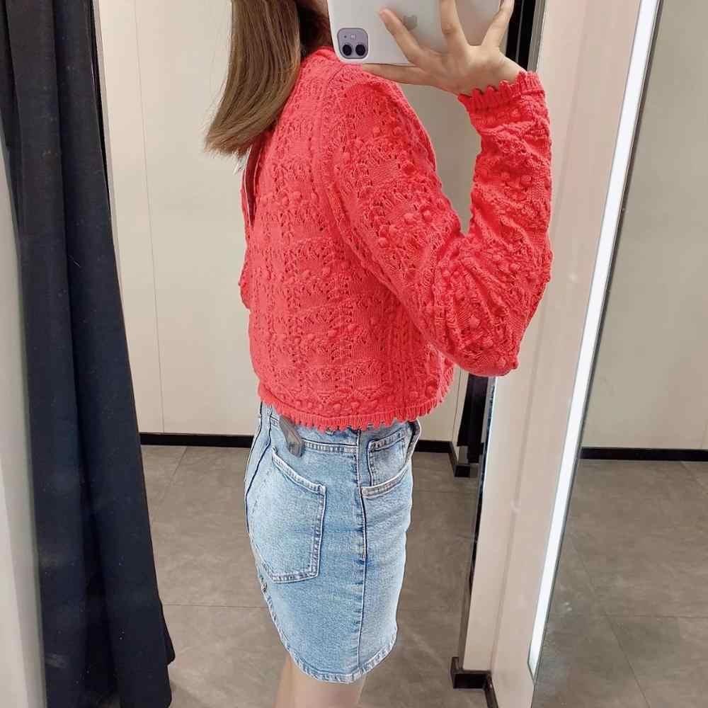 2020 yaz yeni kadın katı kırmızı hırka örme kazak rahat iki adet set moda streetwear seksi kadın kısa üstleri