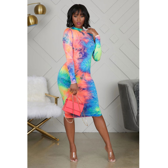 2019 Fashion Women Casual Long Sleeve Bodycon Dress Crew Neck Sexy Midi Dress Tie Dyeing Dress Spring Autumn Wear