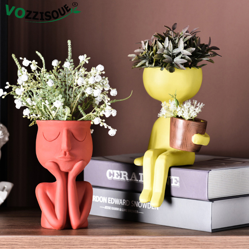 Nordic Resin Succulent Pot Bonsai Vase Cute Abstract Character Vase Decoration Household Living Room Flower Arrangement Creative