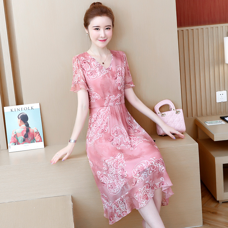 Fat Mm Large Size Dress 2019 Summer New Style Loose-Fit Slimming Elegant V-neck Mid-length Chiffon Printed One-piece Dress