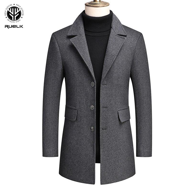 RUELK 2020 Autumn And Winter Men's Woolen Coat Wool Mid-Length Windbreaker Over The Knee Woolen Cloth Solid Color Men Clothing