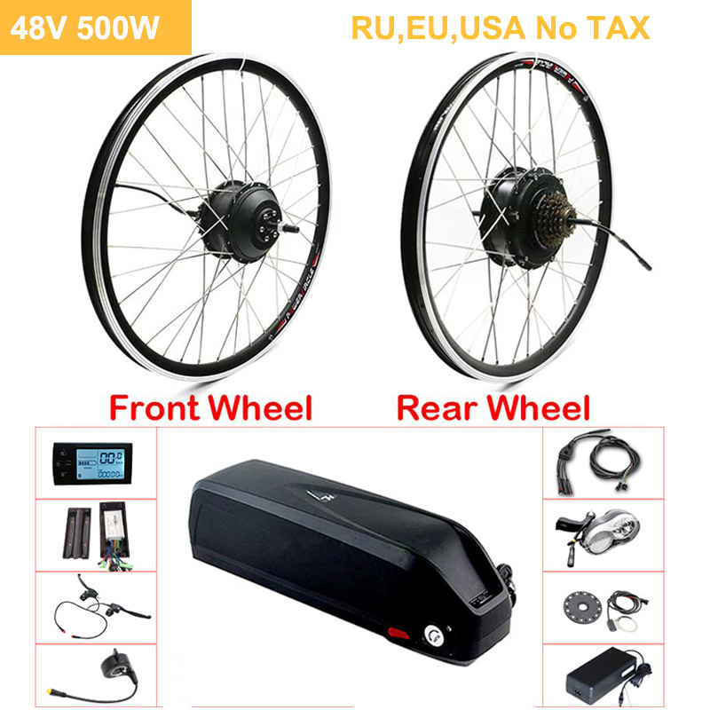 "48V 500W Electric Bicycle Gear Hub Motor EBike Kit 20""26""700C Front Rear Wheel Drive eBike Conversion Kit for 48V Motor Wheel"