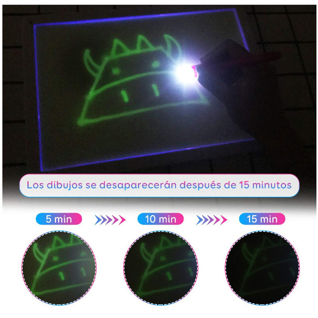 LED Fluorescent Magic Light Drawing Board Draw with Light Fun Magic Board Kids Learning Writing Graffiti Educational Toy Gift