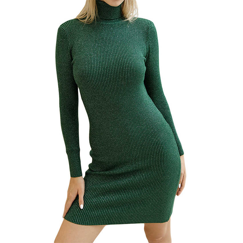 Women Autumn Winter Knitted Sweater Dresses Slim Elastic