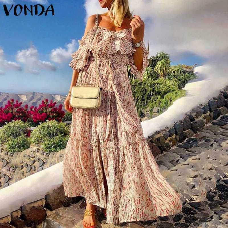 2020 Bohemian Summer Long Maxi Dress VONDA Sexy Sleeveless Backless Vintage Printed Dresses Party Sundress Plus Size Vestidos