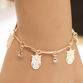Creative New Owl Water Drop Tassel Bracelet Charming Gold Color Bracelet Accessories For Women Fashion Girl Jewelry Party Gift