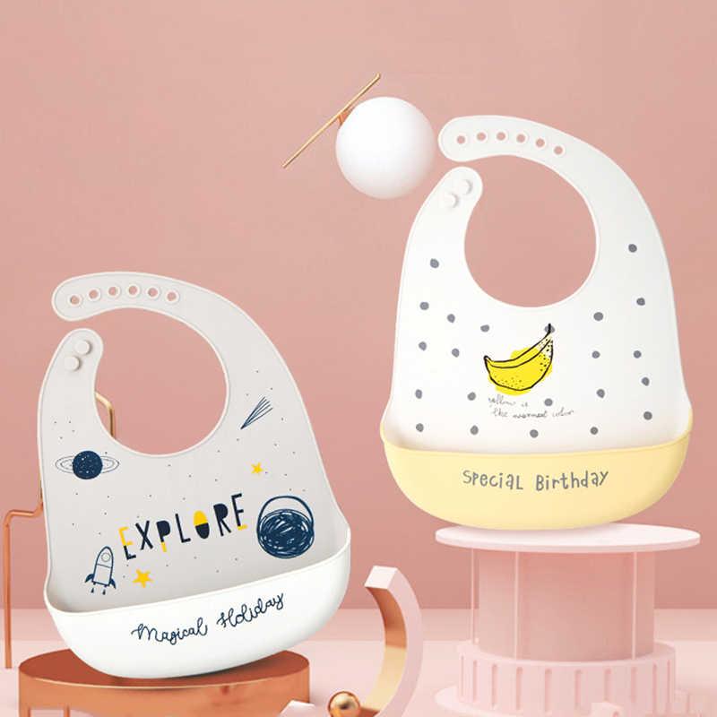 1 pçs do bebê material de silicone à prova dwaterproof água bib alimentação bebê recém-nascido dos desenhos animados aventais babadores do bebê ajustável bandana babadores