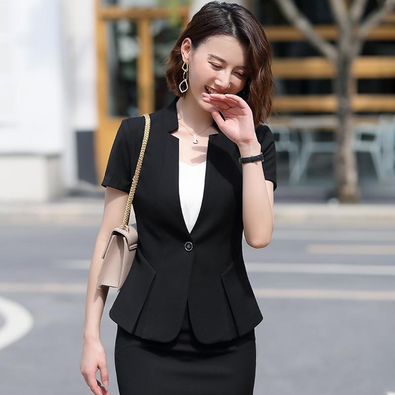 New 2020 Female Elegant Formal Office Work Wear Summer Women Skirt Suit Grey Black Blazer and Jacket Sets Office Ladies Clothes