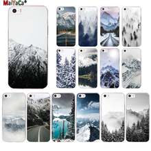 Maiyaca Black White Mountain Pijnboom Bos Bergtop Mist Telefoon Case Voor Iphone 11 Pro 8 7 6 6S Plus X Xs Max 5 5S Se Xr(China)