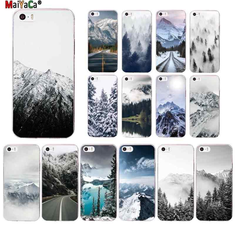 MaiYaCa 黒、白マウンテン松森マウンテンピークミスト電話ケース iphone 11 プロ 8 7 6 6S プラス X XS 最大 5 5S 、 SE XR