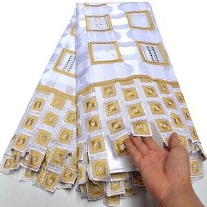 Image 3 - الأبيض والذهب السويسري قماش دانتيل فوال في سويسرا 2019 جودة عالية النيجيري الفرنسية القطن الخالص المطرزة الفوال السويسري الدانتيل DG637