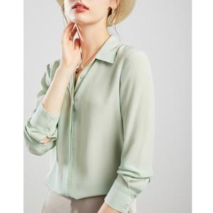 Image 2 - Suyadream mulheres blusas de seda 100% real seda sólida manga comprida botão básico escritório senhora blusa camisa 2020 chique camisa