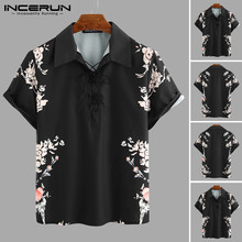 Mens Short Sleeve Shirts Man Floral Print Retro Lapel Shirt Men Casual Lace Up Black Blouse Summer Breathable Tops Plus Size