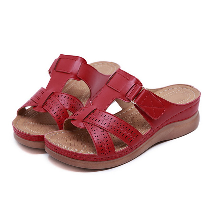 2019 New Summer Sandals Car Line Wear-resistant Anti-slip Large Size Retro Wedge With Thick Bottom Comfortable Sandals Women