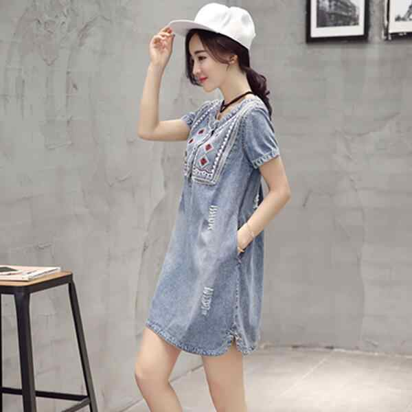 Verão 2019 Denim Vestido Mulheres Vestido de Verão Retro Sukienki Bordado Macio Mini Plus Size Vestido Jeans Vestidos Femininos WF164