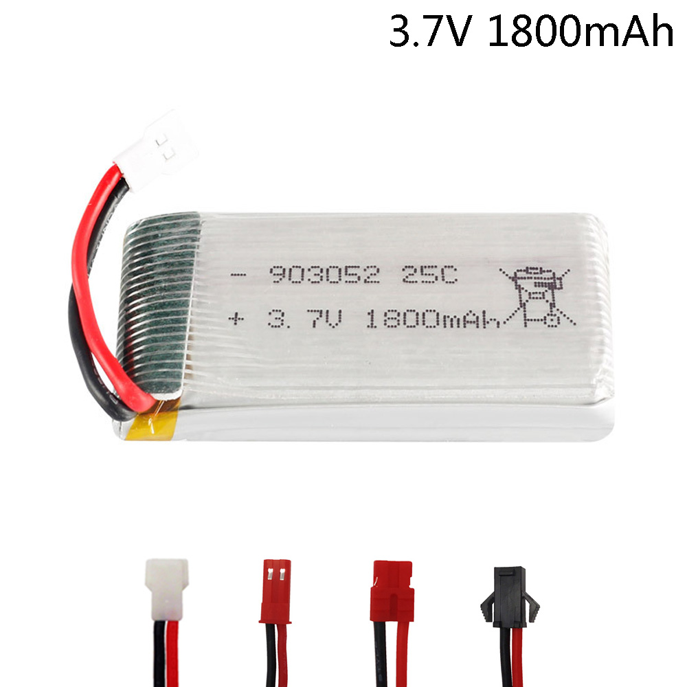 3.7V 1800mAh Lipo Battery For KY601S SYMA X5 X5S X5C X5SC X5SH X5SW X5HW X5UW M18 H5P HQ898 H11D H11C 3.7V 1S Battery For RC Toy