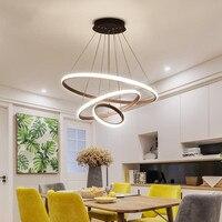 Candelabros LED de control remoto lámpara de anillo LED blanco negro pantalla Loft Vintage Lustre accesorios de iluminación