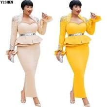 Длина 150 см африканские платья для женщин Дашики ногтей бисера африканская одежда космический слой африканская юбка платье с длинным рукавом Африка платье