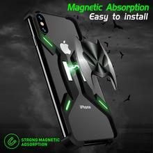 מגניב מגנטי Adsorbtion בת מקרה עבור iPhone 7 8 X XR XS מקס אלומיניום מתכת פגוש אחורי כיסוי עבור iPhone 7 8 בתוספת 10 מקרי טלפון