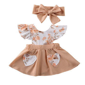 Free shipping Newborn Toddler Baby Girls Clothes Flower print Ruffle Princess Dress bow solid Headband 2pc kids cotton Outfit girls bow print ruffle hem dress