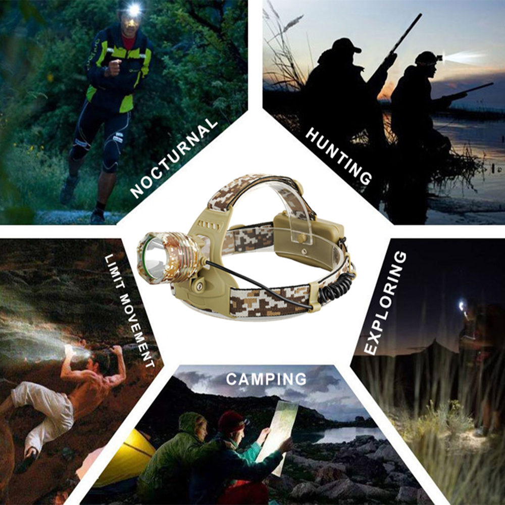 Купить с кэшбэком Camouflage Led Headlamp Waterproof T6 LED Headlight led Head Lamp Lantern Lamp Camping Hiking Fishing Light use 18650 battery