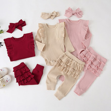 Newborn Infant Baby Girls Ruffle Bodysuits Romper Leggings Pant Knitted Outfit Clothes Set Long Sleeve Fall Toddler Girl Clothes